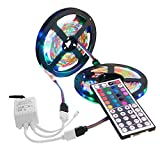 DIKHBJWQ 10M 3528 SMD RGB 600 LED Stripes Lichterkettenband + 44 Key IR Fernbedienung