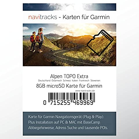 Alpen Garmin Topo Extra 8GB MicroSD Card (Slovenia Germany Switzerland Italy Austria France) Montagne GPS for Biking, Hiking Skiing Hiking Geocaching Indoor and Outdoor Use. Camper Colorado Dezl Cam Edge Tourist Map Dakota eTrex GPSMAP, OREGON Montana Monterra Rino Nuvi Street Pilot Zümo Navigation Devices for PC and Mac