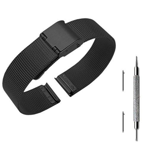 Pinhen 14mm Quick Release metallo in acciaio INOX mesh metal Watch Band strap bracciale per Asus ZenWatch 3/pebble time Round e altri orologi con 14mm di larghezza