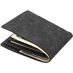 MPTECK @ Schwarz Cartera Clásica Estilo plegable Monedero Billetera de PU Cuero Delgada con Crédito Tarjetas Ranuras para Identificación Tarjetas Crédito Licencia de conducir