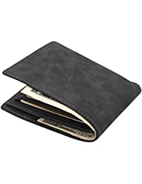 MPTECK @ Portefeuille élégant en PU cuir Noir Porte-monnaie Classique ultra Mince pour carte d'identité, permis de conduire, Carte de Crédit