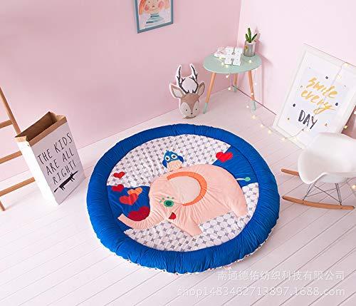 Tapis de jeu de bébé en polyester rond pour chambre d'enfant en pur coton Tapis de jeu épais Tapis de jeu pour bébé Tapis rampant Tapis de chambre d'enfant (jaune/orange)