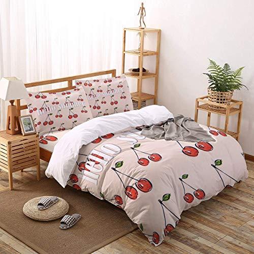 4pcs Bettbezug Set Einfache handbemalte Kirsche Hallo Sommer Leichte Pflegeleichte Bettwäsche Set für Männer, Frauen, Jungen und Mädchen, Twin Größe - Bettbezug Twin Männer