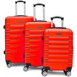 SHAIK Serie CLASSIC Maletas De Viaje Set De 3 Piezas - Candado TSA 45/78/124 Capacidad De Litros Cubierta Dura Y Equipaje De Mano Con Ruedas 360⁰ De Rotación (Rojo, 3 Piezas)