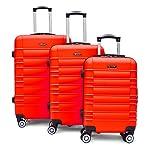 SHAIK SerieCLASSIC JFK Design Hartschalen Trolley, Koffer, Reisekoffer 4 Doppelrollen Zwillingsrollen, Zahlenschloss (Set, Rot)