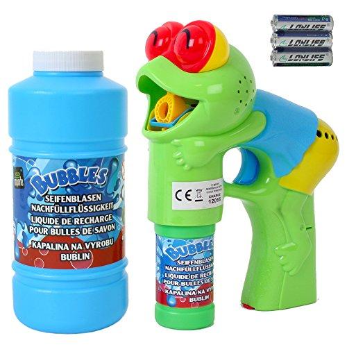 TE Trend Seifenblasenpistole Frosch Pistole mit LED, Sound und 450 ml Seifenblasen Ersatz Flüssigkeit zum Nachfüllen