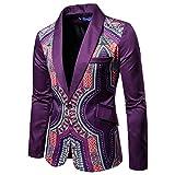 AOWOFS Herren Sakko Slim Fit Bunte Anzugjacke Exotisch Smoking für Hochzeit Party Feier Violett 52 / X-Large