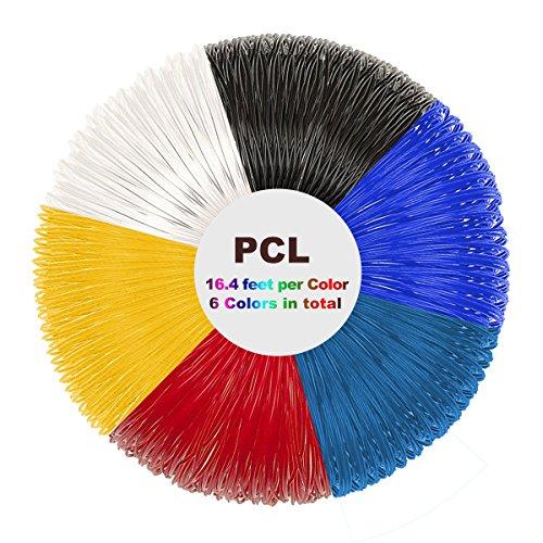 Tipeye PCL Filament Pack - 3D Stift Filament 1.75mm 6 Farbe 5m Pro Farbe 3D Druck PCL Filament für 3D Druck Pen 3D Drucker-Stift(Nur für Niedrige Temperatur 3D Stift)