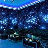 Taille personnalisée 3D Stéréo Bleu Univers Nuit Espace Étoiles Brillantes Murale Papier Peint Pour Mur De Plafond Salon Bar KTV Décor Photo Papier Peint 200x140CM