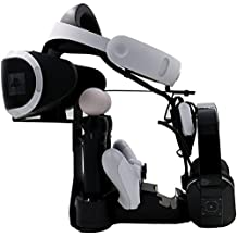 KuGi PS VR, PS 4 Controller Charge Dock stand, PS VR escaparate, muelle cargador rápido con estaciones de carga pantalla + LED para PS VR / PlayStation VR / PlayStation 4 / PS4, 4 / controlador Pro PS 3 y PS moción movimiento de controlador, espacio adicional para VR auricular y casco (Negro)