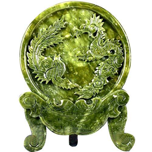 WYANG Chinesische 100% natürliche Jade Skulptur geschnitzt Dragon Phoenix Tier Muster Statue Home Decoration (Phoenix-skulptur)
