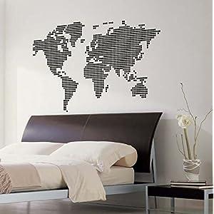 IDEAVINILO Vinilo Decorativo mapamundi formado por Puntos. Color Negro. Medidas: 105x60cm