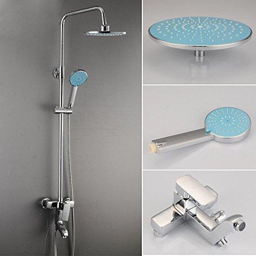 ZHGI Rame moderno Juniors box doccia set, riser booster doccia bagno doccia rubinetto, montato a parete round top - Riser Braccio