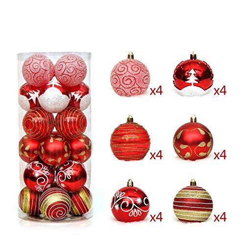 AOTE-E Weihnachtsschmuck, 6cm24 Bemalter Ballsatz, Shatterproof Weihnachtsbaumdekoration Ball Weihnachten,C