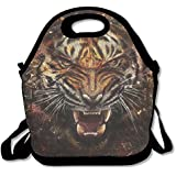 Neoprene Lunch Tote - Tiger Wallpaper Waterproof Reusable Cooler Bag For Men Women Adults Kids Toddler Nurses With Adjustable Shoulder Strap