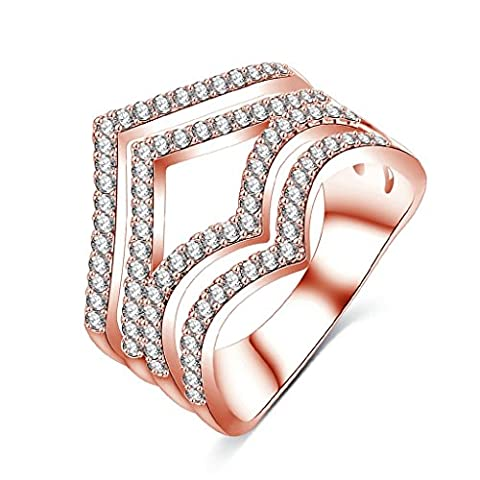 AMDXD Jewelry Gold Plated Engagement Rings for Women Geometry Rose Gold Size R 1/2