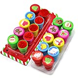 Ouken 10pcs Novelty Merry Assorted Stamps Plastic Xmas Inking Stamper Portable Kids Christmas Stamps for Party Favors