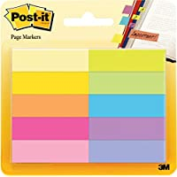 3M Post-It - Pack 10 x 50 hojas marcadores adhesivos para libros, notas adhesivas de papel de 12.7 x 44.4 mm, color surtido