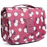 Emwel Portable accroché de voyage trousse de toilette de cosmétique produits de toilette pour homme femme Fleurs rouge vin