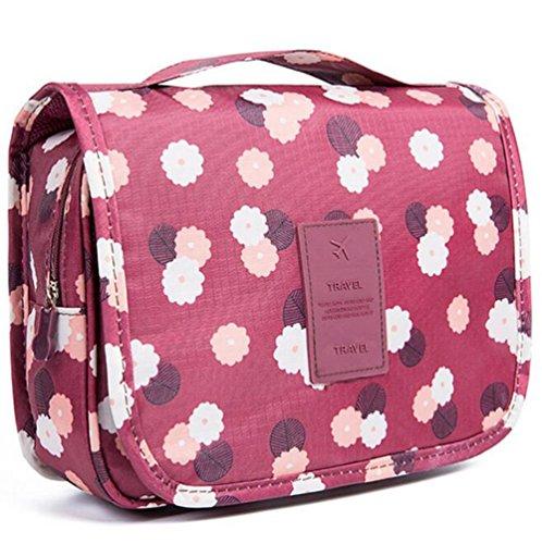 Emwel appeso toiletry organizer travel trousse per donne e uomini - perfetto per viaggio / all'aperto (fiore rosso vino)