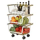 Zghzsc Cucina Bagagli Trolley, a più Strati Rimovibile Frutta Verdure Rack in Acciaio Inox Mesh Contenitori, rotolamento Carrello con bloccaggio Ruote (Colore: Argento, Dimensione: 3-Tiers)