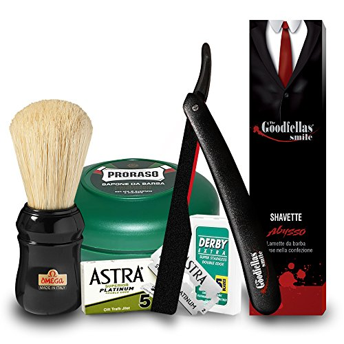 Set Rasoio a mano libera shavette Abysso | Proraso sapone in ciotola tutte le barbe 75ml | Pennello Omega 49 nero In pura setola | 5 Lamette da barba Astra Superior Platinum e 5 Derby Extra