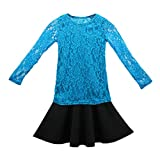 TOOGOO(R) New Kids Baby Girls Long Sleeve Lace Tops + Skirt Clothes Set 2pcs Set Outfits Kid 10 Years Blue+Black