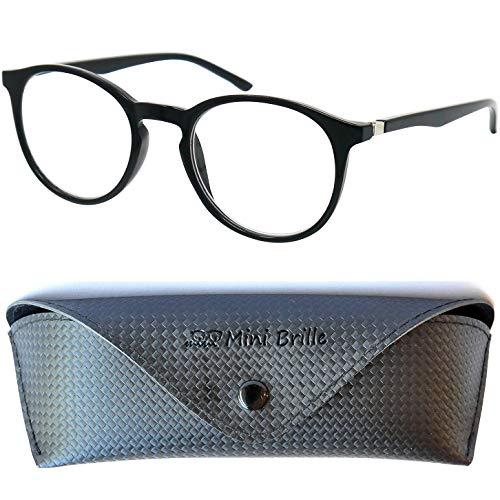 Nerd Blaulichtfilter Lesebrille | Anti Blaulicht Brille mit großen runden transparenten Gläsern | GRATIS Etui | Kunststoff Rahmen (Schwarz) | Lesehilfe für Damen und Herren | +2.0 Dioptrien