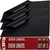 Oven Liners - Large Non Stick - Set of 3 - Master Chef Quality Kitchen Accessories For Home Cooks - Keeps Ovens Clean - Heavy Duty, Easy to Use, Versatile - Can Use As Baking Mat, Grill Mat, Pan Liner