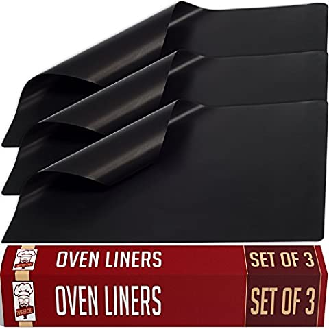 Oven Liner - Set of 3 Large Non Stick Mat Liners for Gas, Electric, Convection, Dutch, Pizza and Toaster Ovens