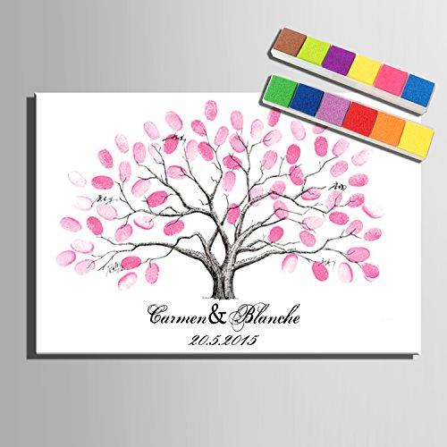 Huellas dactilares firma lienzo pintura a árbol de rosa para regalo de boda decoración de la boda (12colores), lona, 59x80cm