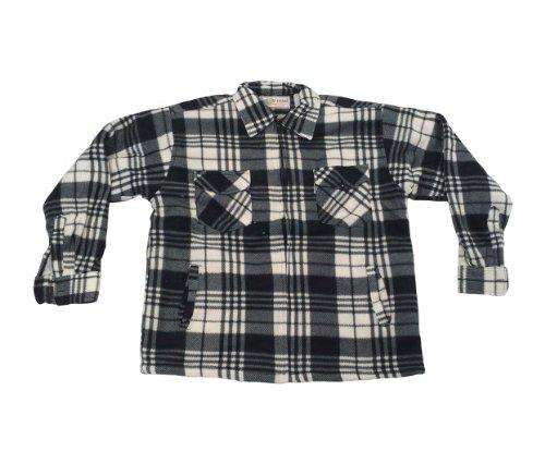 Camicia da lavoro da uomo caldo a quadri pile termico invernale giacca black/white 2 check large