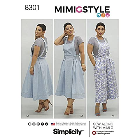 Lot Patron Couture - Simplicity 16–18–20–22–24 Mimi G Style Femme Salopette/Pull/Knit Crop