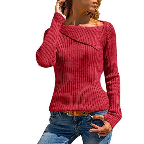 GOKOMO Pullover Damen Oversize Hemd Zu Boden Reverskragen Hemd Langarmpullover Damen DüNn Damen Pullover(rot,Medium)