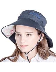 WF:sombrero de las señoras Sombrero del sol del sombrero de la señora del verano hembra Dayan Mao sombrero de la playa del sombrero del sol UV ( Color : Negro )