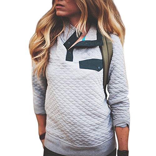 (SuperSU Mode Damen Langarm Knopf Sweatshirt Pullover Bluse Tops Hoodie Sweatshirt Elegant Pullis Streetwear Mädchen Pullover Streifen Casual Hip Hop Lange Ärmel Mode Sweatjacke Streetwear)