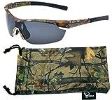 Hornz Brown camuflaje del bosque polarizados gafas de sol para los hombres del abrigo alrededor del marco de Deporte y que coinciden con bolsa de microfibra – Marco de Marrón Camo - Lente Humo