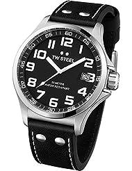 TW Steel Unisex-Armbanduhr Pilot Analog leder schwarz TW408