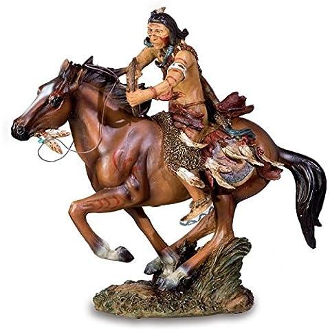 Nativi americani da equitazione cavallo statua ornamentale