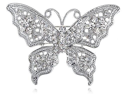 Alilang Damen Silber Kristall Helle Strass Schmetterling Insekt Flügel Brosche (Alilang Brosche Kristall)