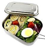 OldPAPA brotdose Schule Edelstahl Lunchbox für Kinder und Erwachsene mit Faltgöffel Brotdose, Brotbox, Vesperbox, Vesperdose | mit Fächern, Trennwand | Bento Box für Kinder