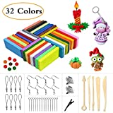 MerryXGift Polymer Clay, 32 Colours Modelling Clay with Bright Color Soft Oven Bake Clay Set with 5 Tools and 25 Accessories, Clay Set Toy and Birthday Gifts for Kids