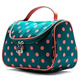 Cosmetic Bag, Yeiotsy Polka Dots Toiletry Organizer Travel Bag for Women (Lake Blue)