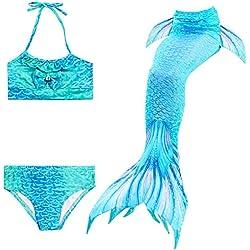 WhiFan Enfant Filles Queues de sirène 3 Pièces Maillots de Bain Ensembles Swimmable de Mermaid