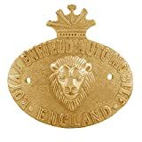 Autofy Brass Lion Face Badge with Crown for Royal Enfield All Models and Other Bikes (Gold)