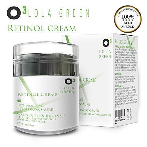 O³ Retinol Creme // Mit 2,5% Retinol Complex, Hyaluronsäure und Vitamin E // Optimale Faltenbekämpfung // Anti Aging Feuchtigkeitspflege für Frauen und Männer // Gesichtspflege Face Lift Cream