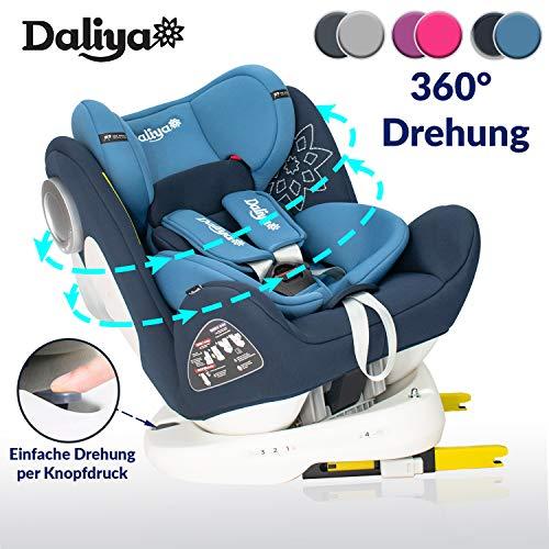 Daliya Sedion Kinderautositz 0-36KG 360° Blau, mitwachsender Autositz, Kindersitz GR. 0+1+2+3, Isofix Fix, Top Tether, 5 Punkt Sicherheitsgurt, incl. Sonnenverdeck, 2x Isofix Einbauhilfe...