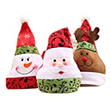 Love May 3Pieza Gorro Gorro de Papá Noel Navidad Bien Gorro Navidad Rojo de Papá Noel Cara Gorro Niños Adultos Decoración de Navidad