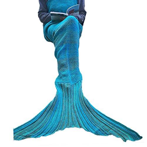 gearfan Garn gestrickte Schlafsack Wrap Meerjungfrau Decke Crochet Streifen Muster Blau (Teal Plaid Flanell)