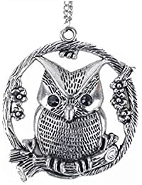 GirlZ! Silver Round Owl Necklace Pendant With Chain For Women